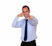 Adult man pointing at you saying call me Royalty Free Stock Image