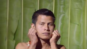 Adult Man Pulling His Ears. In Ecuador stock footage