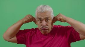 Adult man pulling his ears. In Ecuador stock video