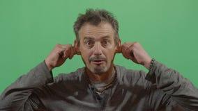 Adult Man Pulling His Ears. In Ecuador stock video footage