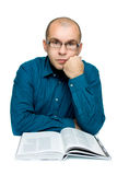 Adult man reading a book Stock Photos