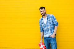 Adult man with red gift, present Stock Photos