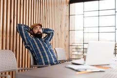 Adult man relax, have coffee break. Creative workspace. Zen break. Success business leader