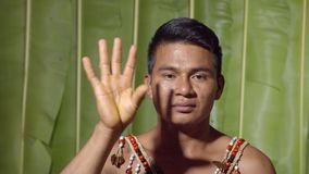 Adult Man Saluting The Viewer. In The Sense Of Good Bye In Ecuador stock video