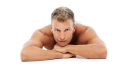 Adult man without shirt posing in studio Stock Photos