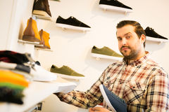 Adult Man Shopping For Shoes Stock Images