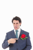 Adult man in suit with disgust face expression showing with his Royalty Free Stock Photos