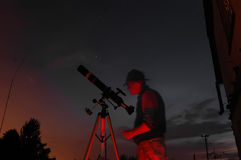 Adult man and telescope with camera Royalty Free Stock Images