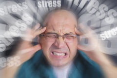 Adult man under severe stress. Adult man under pressure and severe stress. Stress subjects spinning nervously around man's head Royalty Free Stock Photography