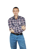 Adult man wearing jeans and a plaid shirt Royalty Free Stock Photography