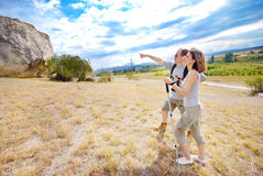 Adult man and woman are hiking Royalty Free Stock Photography