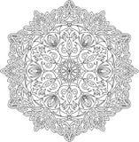 Vector contour Mandala ornament. Oriental round pattern. stock photos