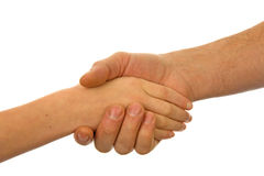 Adult men and child handshake Stock Images