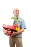Adult men with christmas gifts over white Stock Image