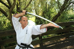 Adult men practicing Karate outdoor Stock Photo