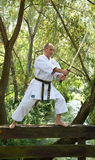 Adult men practicing Karate outdoor Stock Photos