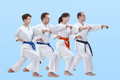 Adult men and women in karategi beat punch arm Stock Images