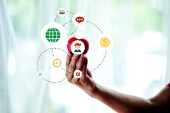 Adult Mobile Holds Red Heart, Health Care, Donation and Family I stock image