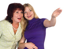 Adult mom and daughter on white Stock Photo