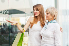 Adult mother and daughter after shopping Royalty Free Stock Images