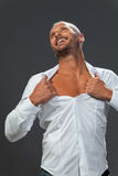Adult muscular man showing his chest Royalty Free Stock Photo