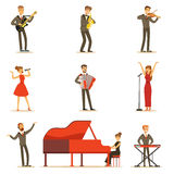 Adult Musicians And Singers Performing A Musical Number On Stage In Music Hall Set Of Cartoon Characters. People Singing And Playing Musical Instruments In vector illustration