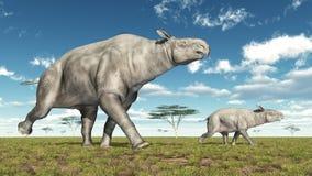Adult Paraceratherium and baby Paraceratherium Stock Photo
