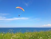 Paraglider near cliff along baltic sea coastline. Adult paraglider near cliff along baltic sea coastline and green meadow wheat field at Boltenhagen Coast stock photos