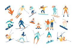 Adult people and children dressed in winter clothing snowboarding and skiing. Male and female cartoon ski and snowboard. Riders. Winter mountain sports activity Stock Photography