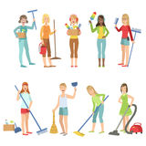 Adult People Cleaning Up Indoors. Set Of Simple Cartoon Flat Vector Colorful Characters On White Background Stock Images