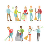 Adult People Cleaning Up Outdoors. Set Of Simple Cartoon Flat Vector Colorful Characters On White Background royalty free illustration