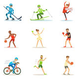 Adult People Practicing Different Olympic Sports Series Of Cartoon Characters In Sportive Uniform Participating In royalty free illustration