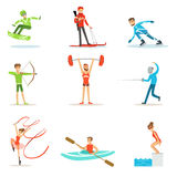 Adult People Practicing Different Olympic Sports Set Of Cartoon Characters In Sportive Uniform Participating In. Competition. People Doing Sportive Workout As Stock Images