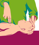 Adult performing cpr on infant Royalty Free Stock Image