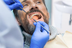 Adult person at the dentist. Doctor is checking teeth. Free dental diagnostics stock photo