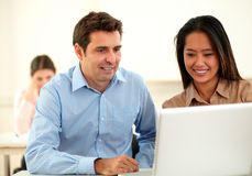 Adult professional couple looking at laptop Royalty Free Stock Photography