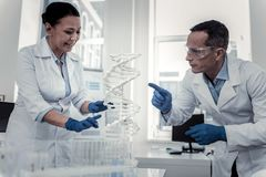 Adult professional scientists studying genetic processes together stock photo