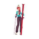 Adult red-haired beautiful woman standing with ski. Cartoon vector illustration isolated on white background. Full height portrait of pretty female skier, fun Royalty Free Stock Photos