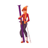 Adult red-haired beautiful woman standing with ski. Cartoon vector illustration  on white background. Full height portrait of pretty female skier, fun winter Stock Images