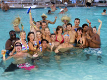 Adult Resort Pool Party Holiday Fun. Many hotels and resorts in Arizona offer fun public adult pool parties during the hot summer months of the year stock photo