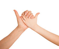 Adult's hand and child's hand holding together Royalty Free Stock Images