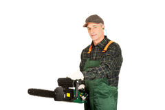 Adult sawyer with chainsaw Royalty Free Stock Photography