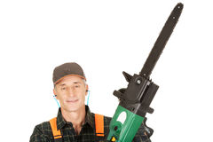 Adult sawyer with chainsaw Royalty Free Stock Photos