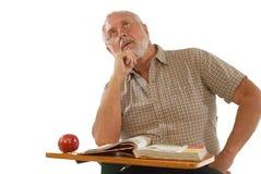 Adult scholar. Older gentleman back at school during his retirement years Stock Images