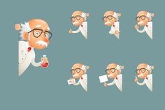 Adult Scientist Character Old Grandfather Wise Look Out Corner Icons Set Cartoon Design Vector Illustration. Adult Scientist Character Old Grandfather Look Wise Stock Photography