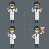 Adult scientist holds different objects Stock Image