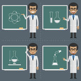 Adult scientist indicates to chalkboard Stock Photography