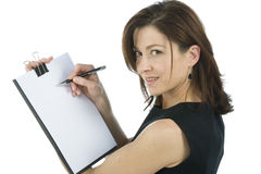 Adult secretary shows a blank paper Stock Image