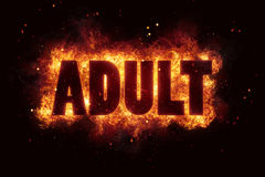 Adult only sign text alert allowed permission hot fire flames. Explosion Stock Photography