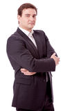Adult smiling business man with black suit isolated Stock Photography